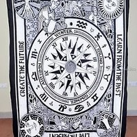 Beautiful Astrology Tapestry Cycle Of Ages Wall Hanging White Twin Bed Sheet Art