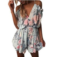 2017 Off shoulder ruffles print jumpsuit romper women High waist chiffon sexy playsuits leotard Boho summer pleated overalls