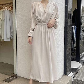 SuperAen French V-Neck Puff Sleeve Solid Ankle-Length Vintage Straight Summer Dress for Women