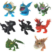 New 8 pcs /set full set Movie How to Train Your Dragon 2 PVC Action Figures, Night Fury toothless dragon toys for child gift (Color: Multicolor) = 1946482756