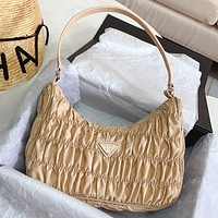 Prada spring new fold bag hobo fold random simple muilt-color optional Apricot