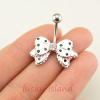 belly ring,little bow belly button rings,white bow bellybutton jewelry,navel ring,body piercing,friendship bellyring