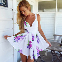 Floral V-Neck Sleeveless Mini Skater Dress