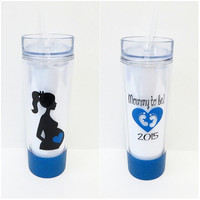 16 oz Hot/Cold Personalized Tumbler * Mommy to Be * Personalized cup * Custom tumbler * Glitter Dipped * Tumbler cup with straw *