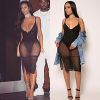 Santune Black Sexy Bodycon Rompers Women Bodysuit Split Overalls See Through Jumpsuits 2017 Lady Club Mesh Bodysuits Playsuits