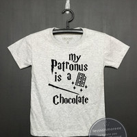 My patronus is a chocolate - Harry potter Kids Shirt - Girls Clothing- Funny Birthday, Kid Shirt, little girl, hipster kids, Flock printing