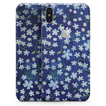 Flowers with Stems over Blue Watercolor - iPhone X Skin-Kit