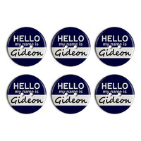 Gideon Hello My Name Is Plastic Resin Button Set of 6