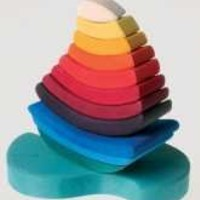 """Grimm's Giant """"Boat on the Water"""" Wooden Rainbow Stacking Tower, 11 Blocks"""