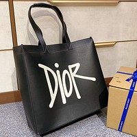 Dior fashion simple handbag single shoulder bag large capacity waterproof shopping bag black lady
