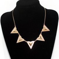 Triangle necklace, Geometric Necklace / Gold Rivets Necklace, Bridesmaids Jewelries, Graduation Birthday Friendship Gifts, Summer