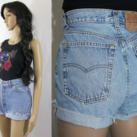 "80s high waisted DENIM SHORTS distressed cutoff jeans LEVIS 501 shorts 30"" - c1048"