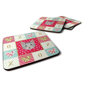 Set of 4 Egyptian Mau Cat Love Foam Coasters Set of 4 CK5114FC
