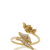 18K Yellow Gold Crossover Butterfly Ring with Diamonds