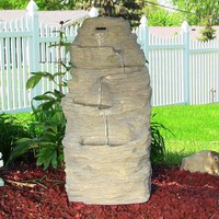 Four Tier Rock Falls Outdoor Water Fountain