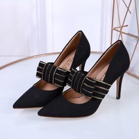 Ready Stock Gucci Women's Leather High-heeled Shoes #903