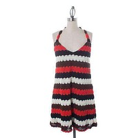 Halter Crochet Dress in Red and Black by Judith March