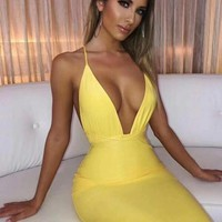 Deep V Plunge Dress In Yellow And Red