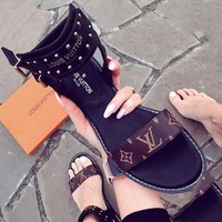 Free shipping-LV women's flat slippers