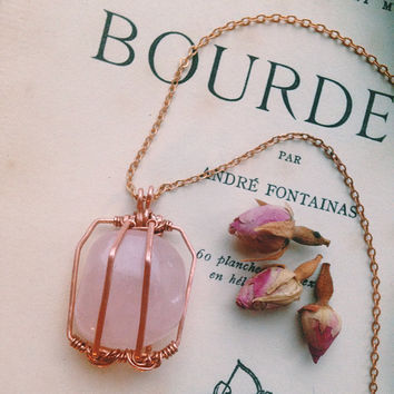 rose quartz necklace • caged crystal necklace - copper rose quartz pendant - crystal cage - love crystal - witch jewelry - pink stone