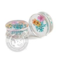 Flower Inlay Acrylic Plugs