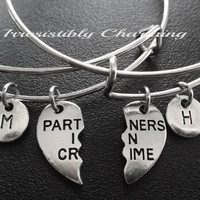 Partners in crime, two bestfriends charm bracelet, Stainless Steel Expandable Bangle, monogram personalized item No.728