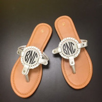 Silver Monogram Interchangeable Disk Sandals