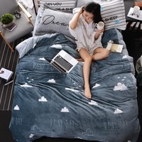 gray black and white thick fleece bedding set twin queen king size for kids adults winter warm duvet cover set bed sheet set
