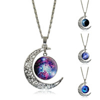 Vintage Glass Moon Pendant Antique Silver Statement Necklace Jewelry