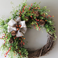 Fall Wreath, Boxwood Fall Wreath, Autumn Wreath, Fall Decor
