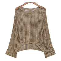 Hollowed Out See Through Buttons Knitted Sweater Pullover