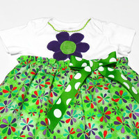 Baby Dress with Daisies, Baby Girl, Bodysuit Dress, Summer Baby