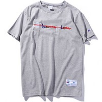 Champion Classic Logo Color Embroidered Champion T-Shirt F0233-1 Grey