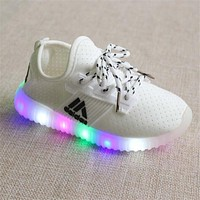 Children Girls LED Luminous Sneakers Kids Sports Shoes Girl PU Casual Boots for Spring Autumn Rubber Button EUR 21-36