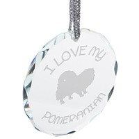 I Love My Pomeranian Etched Round Crystal Ornament