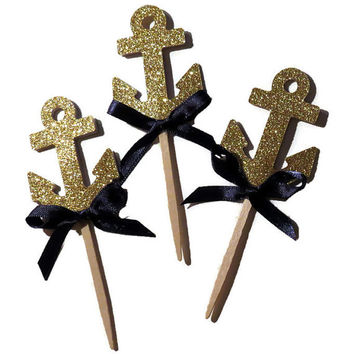 Gold Anchor Cupcake Toppers, Nautical Baby Shower Decorations, Navy, Gold Glitter Anchors, Ahoy, Gender Reveal Party