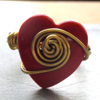 Red Heart Button Wire Wrapped Ring