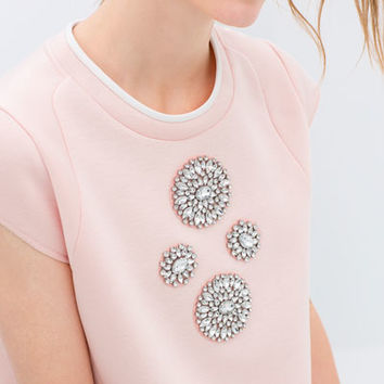 TECHNICAL FABRIC TOP WITH JEWEL