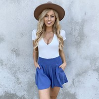 Carefree High Waist Shorts in Blue