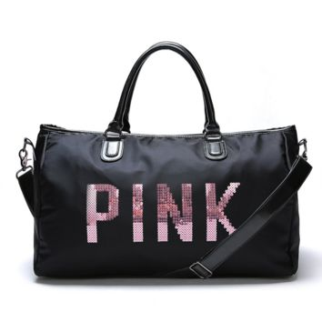 """""""Victoria""""Pink sequins letters overnight bag portable large capacity gym bag waterproof duffel bag"""