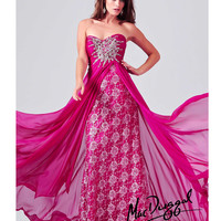 Mac Duggal 78437M Magenta Chiffon & Lace Applique Ball Gown 2015 Prom Dresses