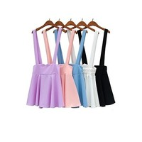 Candy color pink brace skirt purple suspender skirt five colors