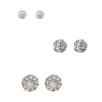 FOREVER 21 Rhinestone Floral Stud Set Silver One