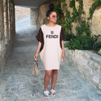 FENDI Newest Women Casual Print Short Sleeve Knee-Length Dress