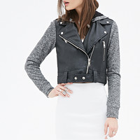 FOREVER 21 Faux Leather Hooded Jacket Black/Multi