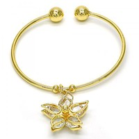 Gold Layered 07.63.0193 Individual Bangle, Flower Design, with White Cubic Zirconia, Polished Finish, Golden Tone (02 MM Thickness, One size fits all)