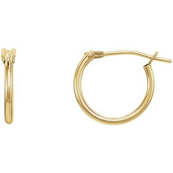 14K Yellow Gold 11.7mm Youth Hoop Earrings
