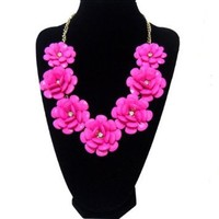 Hot Pink Resin Flower Beaded Rose Flower Statement Necklace, Bubble Necklace, Wedding Accessories