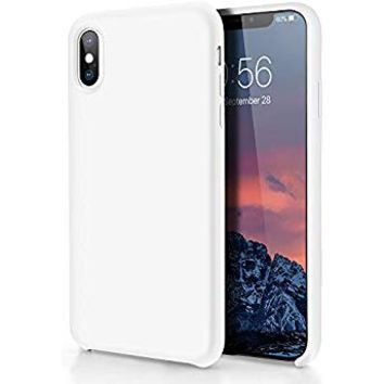 iPhone X Silicone Case,iPhone 10 Silicone Case,Full Body Drop Shockproof Protection Cover Matte Case Gel Rubber Silicone Phone Case with Soft Cushion for Apple iPhone X/iPhone 10(2017) 5.8 inch -White