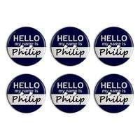 Philip Hello My Name Is Plastic Resin Button Set of 6